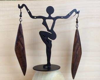 Ziricote Long Dangle Earrings