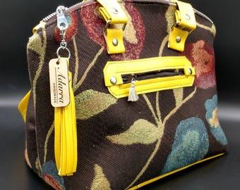 Brown floral Lola handbag with yellow handles