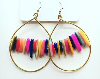 Rainbow chip bead earrings