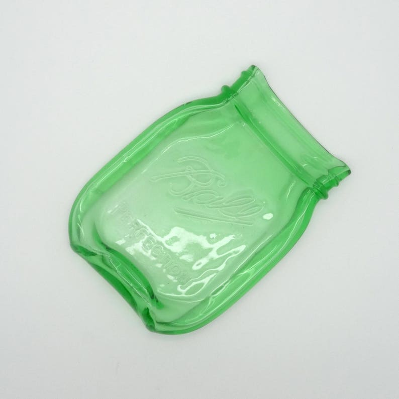 .. Free Shipping...Green Melted Mason Jar Pint coaster WITH BALL LOGO Cute Spoon Rest dish soap Cheese butter Tray