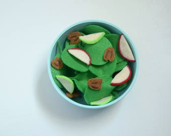 Felt Spinach Salad. Pretend play.  Spinach, apple slices, and pecans.