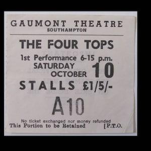UK Four Tops 1976 Catfish European Tour Original Concert Ticket Winter Garden
