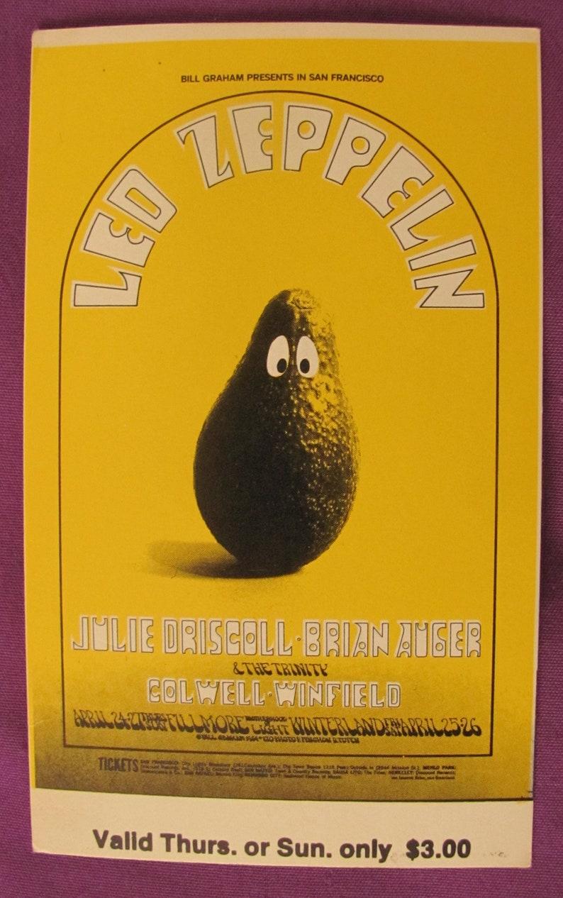 Led Zeppelin Fillmore West Unused Concert Ticket BG 170 SUNDAY