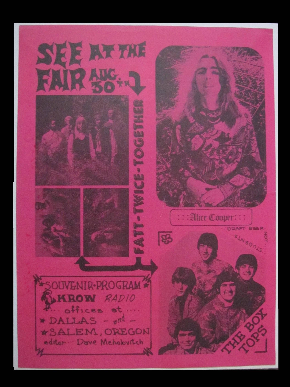 Cooper, Alice 1969 Pretties For You Tour Salem Oregon Fair Concert Handbill  RARE