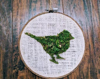 Bird Silhouette Moss Art in Embroidery Hoop
