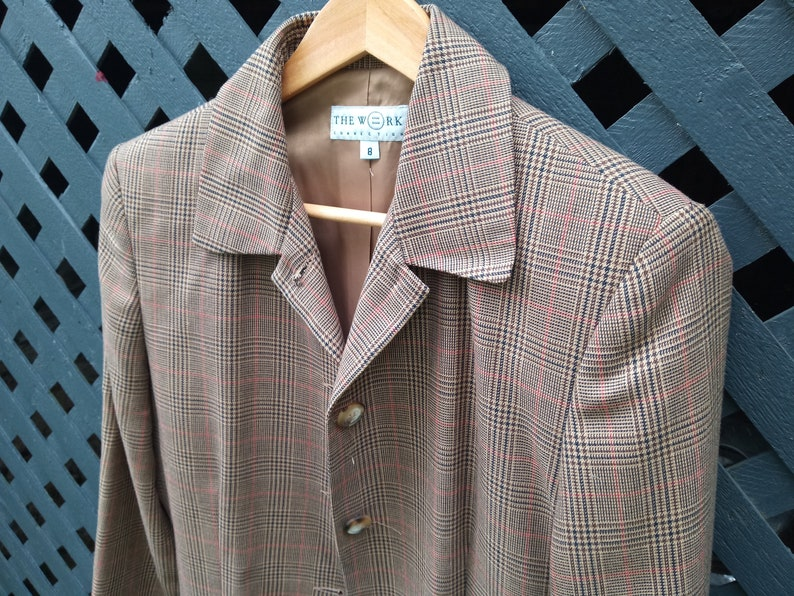 Brown Plaid jacket Long Vintage wide Grandpa Hipster jacket