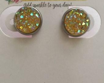 10mm Light Yellow Druzy Stainless Steel Earrings