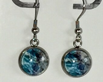 12mm Ocean Storm Dangle Earrings