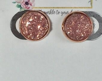 12mm Blush Druzy Earrings