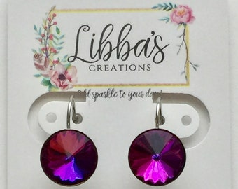 Purple Amber Earrings