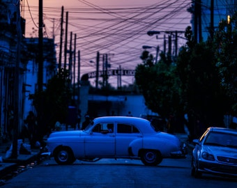 Blue Classic Car at Sunset - Photography Fine Art Print, 1950s Car, City, Travel Photography, Cuban Art, Cuba Car, Urban, Havana, Colorful
