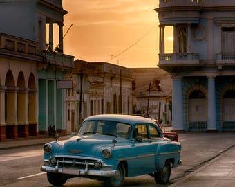 Blue Classic Car at Sunset - Photography Fine Art Print, 1950s Car, Architecture, Travel Photography, Cuban Art, Cuba Car, Wanderlust Art