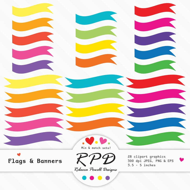 png Ribbons 80/% OFF SALE Clipart Digital Banners eps vectors Bright Rainbow Colours Jpeg Flags Set Commercial /& Personal Use Borders