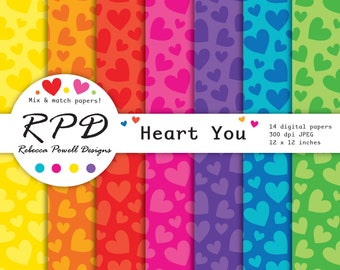 80% OFF SALE Hearts Pattern Valentines Bright Rainbow Colours Digital Paper Set-Scrapbooking,Digital Backgrounds-Personal and Commercial Use