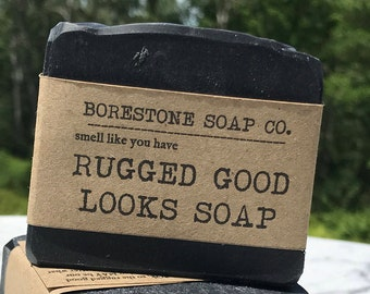 Rugged Good Looks Soap (1 bar, ACTIVATED CHARCOAL, clove, cinnamon)