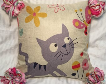 Crazy Kitty- Punky Pillow Cover