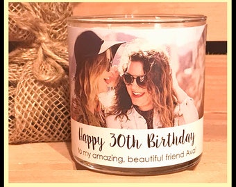 Custom Photo Candle Personalized Birthday Soy Gift Picture