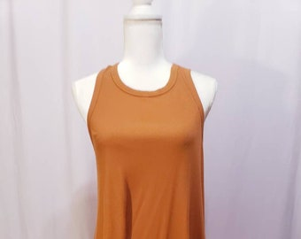90s all Cotton Burnt Orange Asymmetrical Zip Sleeveless Ribbed Top M Micro Ribbed Zip Front Tank