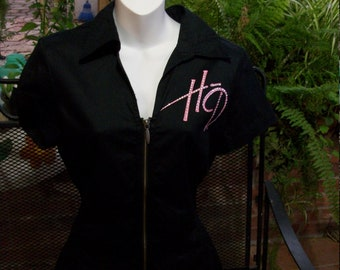 Authentic Harley Davidson Pink HD Zipper Short Sleeve Riding Shirt Small