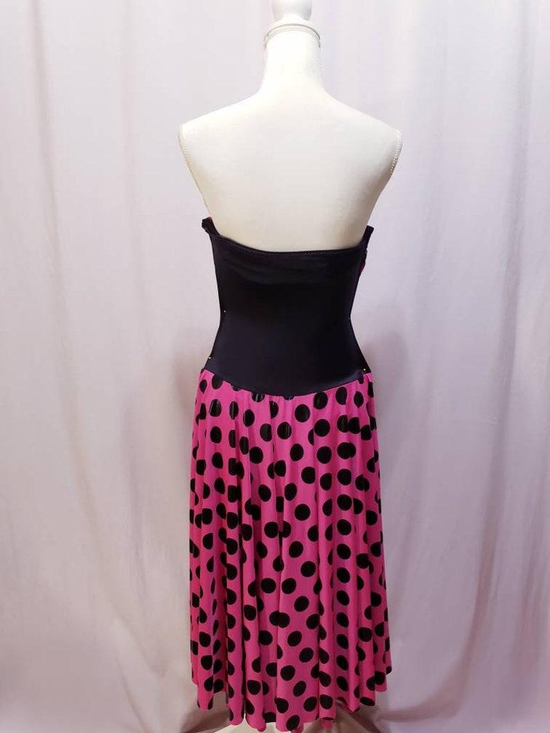 Pink Black Polkadot Leotard Dress Costume