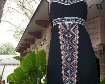 Black Tribal Bohemian Empire Dress Mini Beach Dress size L/XL