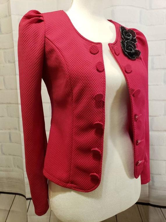 Hot pink and Black floral Blazer Jacket - image 6