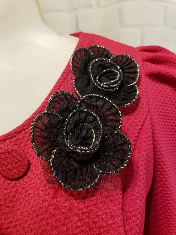 Hot pink and Black floral Blazer Jacket - image 5