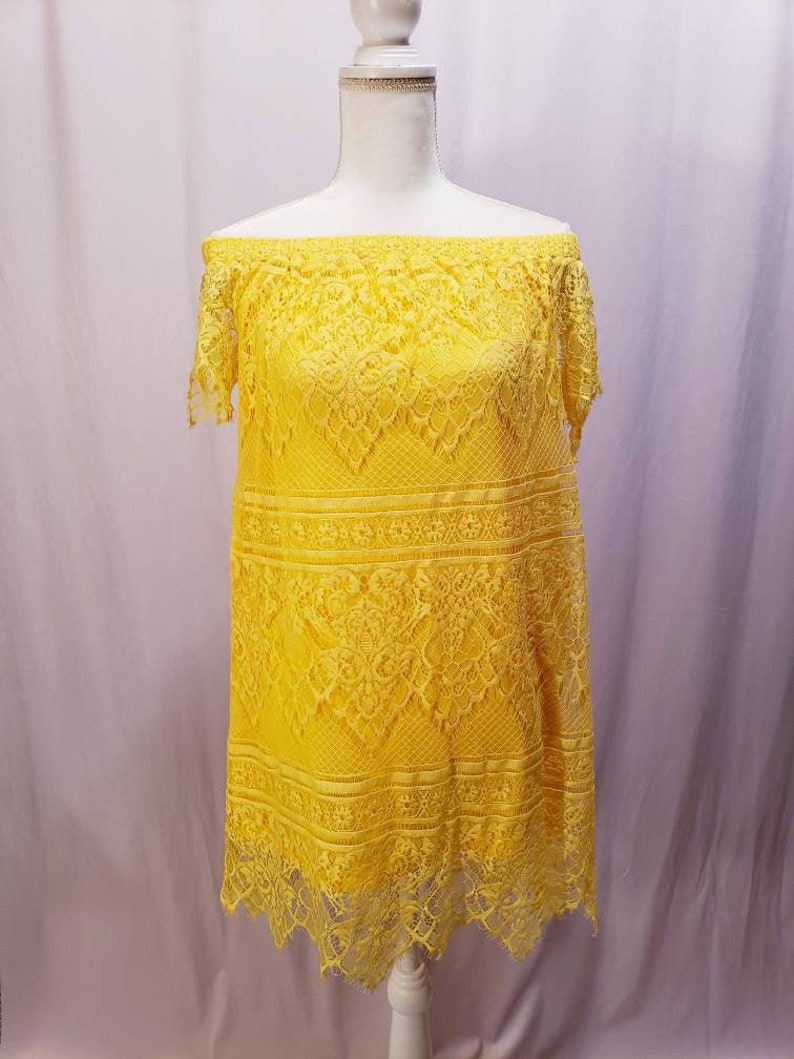 Yellow Lace cold-shoulder Dress