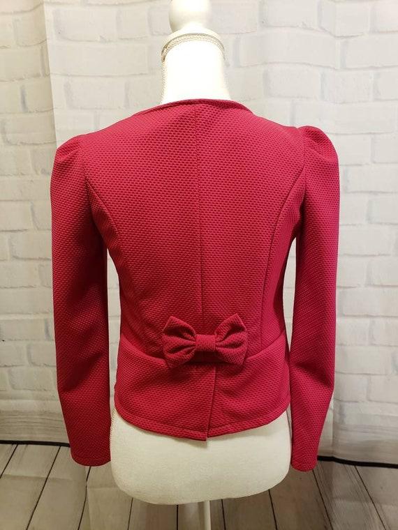 Hot pink and Black floral Blazer Jacket - image 3