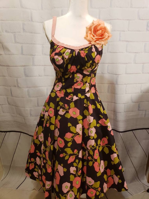 Pink Floral/ Tropical 1950s/1960s Swing Dress