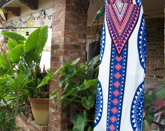 Geometric Pattern Tribal Ethnic Maxi Blue/Red/White/Mint Maxi Dress  Size Small