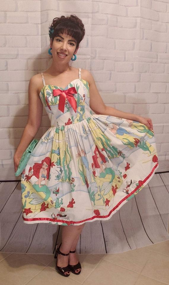 Vintage Little Mermaid Disney 1950s swing dress