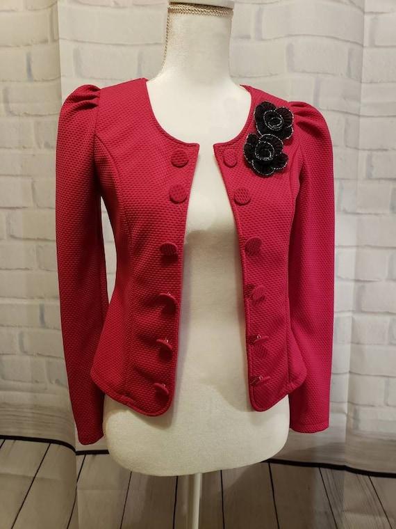 Hot pink and Black floral Blazer Jacket - image 1