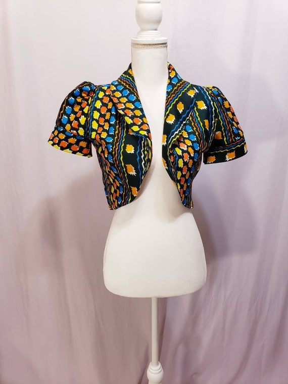 Rainbow cropped Puff/Princess Sleeve Bolero/Cardig