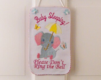 Baby Sleeping Banner, Please Don't Ring the Bell, Baby Banner, Baby Wallhanging, Baby Decor, Baby Shower Gift, Baby Elephant