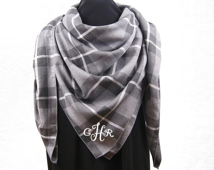 f376aee0df569 Monogrammed Blanket Scarf, Gray Plaid Blanket Scarf,Personalized Blanket  Scarf, Monogram Gift,