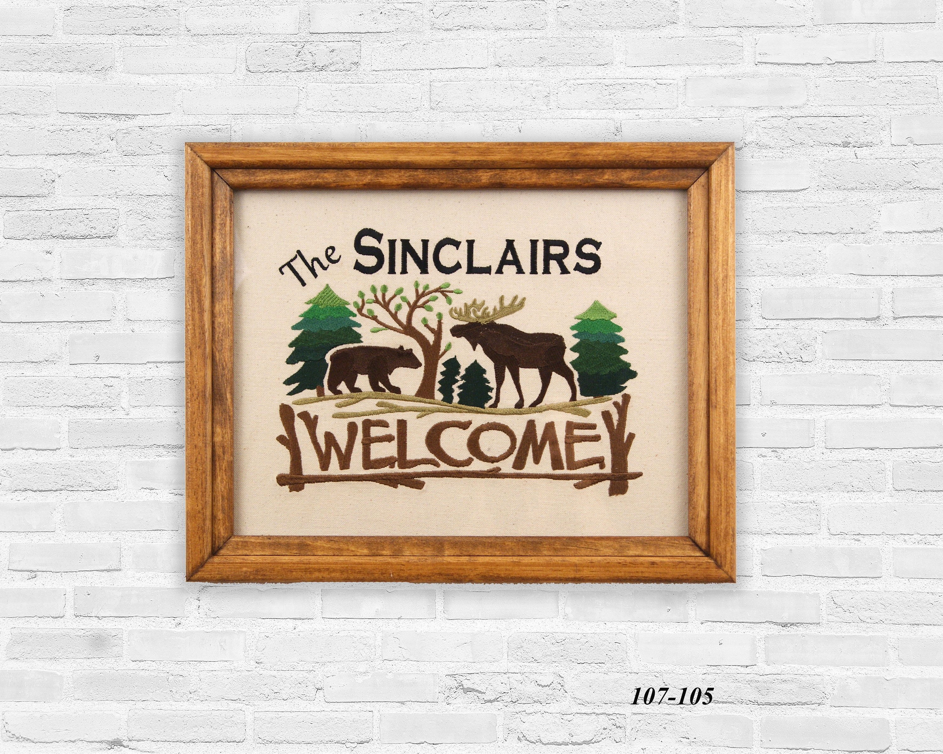 Personalized Bear Welcome, Bear Art, Rustic Embroidered Welcome, Cabin Decor,  Wedding Gift, Housewarming Gift, Cusomized Art, Moose Decor
