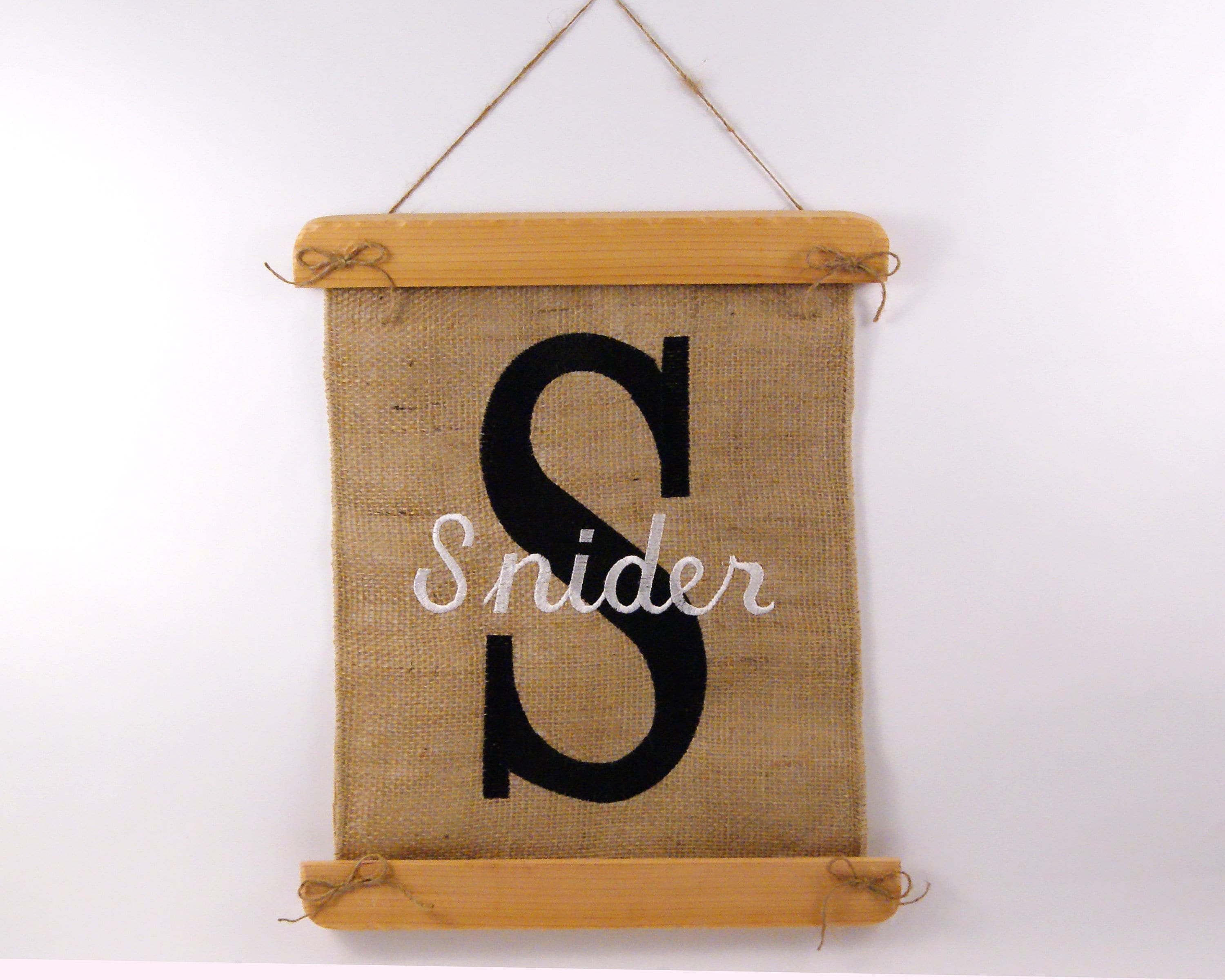Personalized Banner Family Name Burlap Wall Decor Embroidered Wall