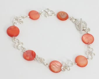 Coral Lip Shell and Wirework Bracelet