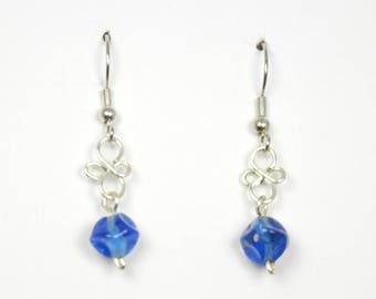 Royal Blue Glass with Silver Wirework Earrings