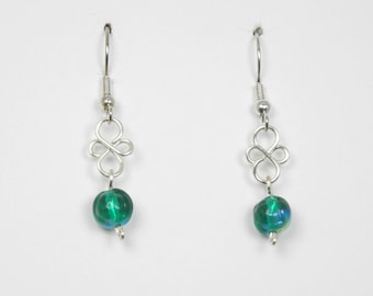 Emerald Green Glass with Silver Wirework Earrings