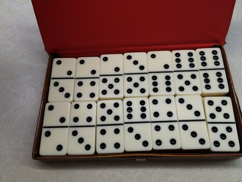 28 Vintage Domino Set by Cardinal Texas 42 Brown Case