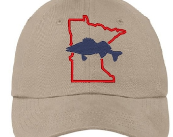 newest 050d2 88c6c Minnesota state Fish - Walleye - embroidered on cotton twill baseball cap -  choice of colors