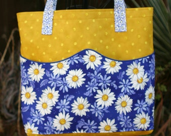 Daisies Floral Tote Bag w/ Wavy Pockets - Woman's - Errands - Market Bag - Flowers - RJR Daisy Blue yellow gold white