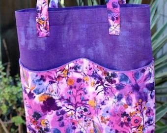 Purple Floral Tote Bag w/ Wavy Pockets - Woman's - Errands - Market Bag - Flowers - RJR Fabrics Bloom Bloom Butterfly Wild Meadow print