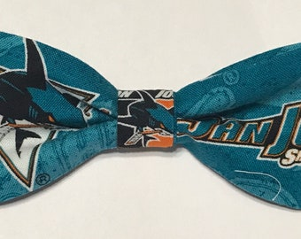 Adult size San Jose Sharks bow tie, adjustable, handmade from licensed fabric, SJ hockey