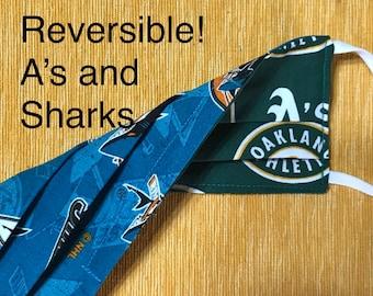 Oakland A's / San Jose Sharks Reversible Face Mask, adjustable elastic ear loops, nose wire, 2-layer, adult, NHL Hockey MLB baseball