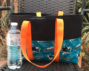 San Jose Sharks small handmade canvas heavy duty tote bag, six exterior slip pockets, fits under your seat or by your feet