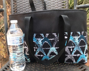 Sharks print small canvas heavy duty tote bag, six exterior slip pockets, fits under your seat or by your feet