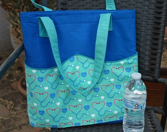 Medical Theme Tote w/ Wavy Pockets - Errands - Market Bag - Fabric Traditions Tribute - Nurse doctor EMT first responder student grad gift